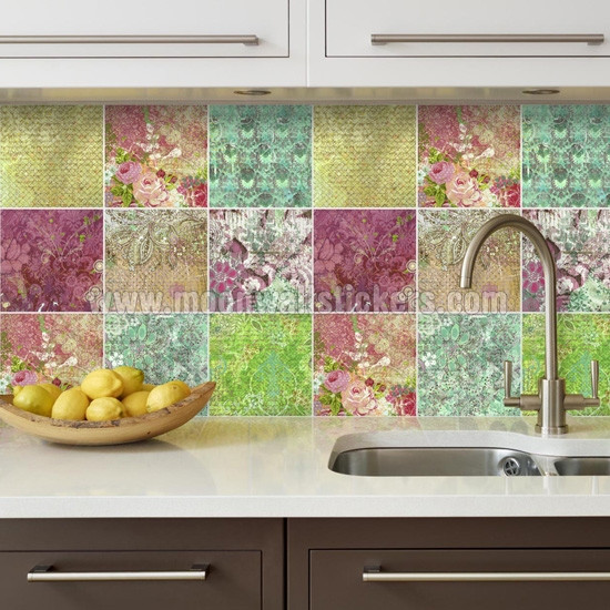 Azulejos Adhesivos Cocina Ikea Magnífica Wall Tiles Stickers Floral Patchwork Of 38  Único Azulejos Adhesivos Cocina Ikea