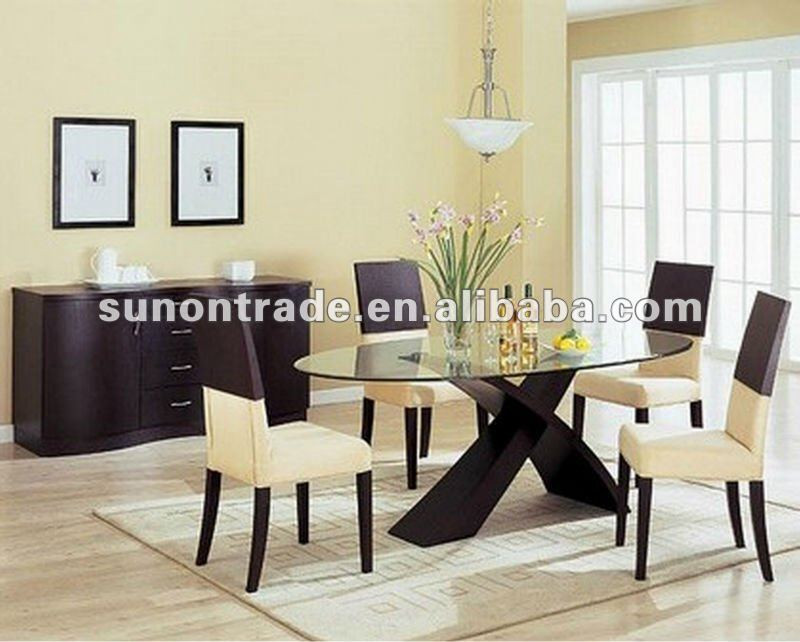 2012 oval glass top dining table with wooden base