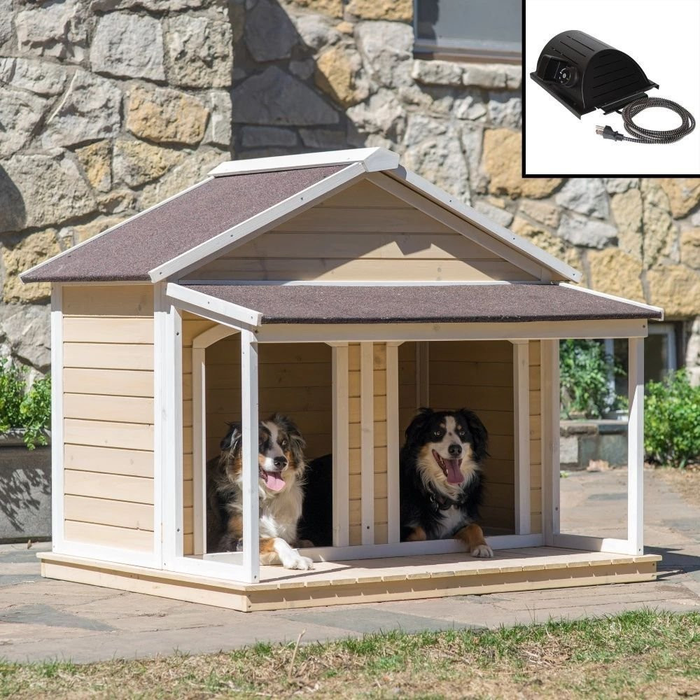 Casas Para Perros Grandes Brillante Heated Fir Wood Duplex Dog House for Two Dogs or 1 Of 38  Lujo Casas Para Perros Grandes