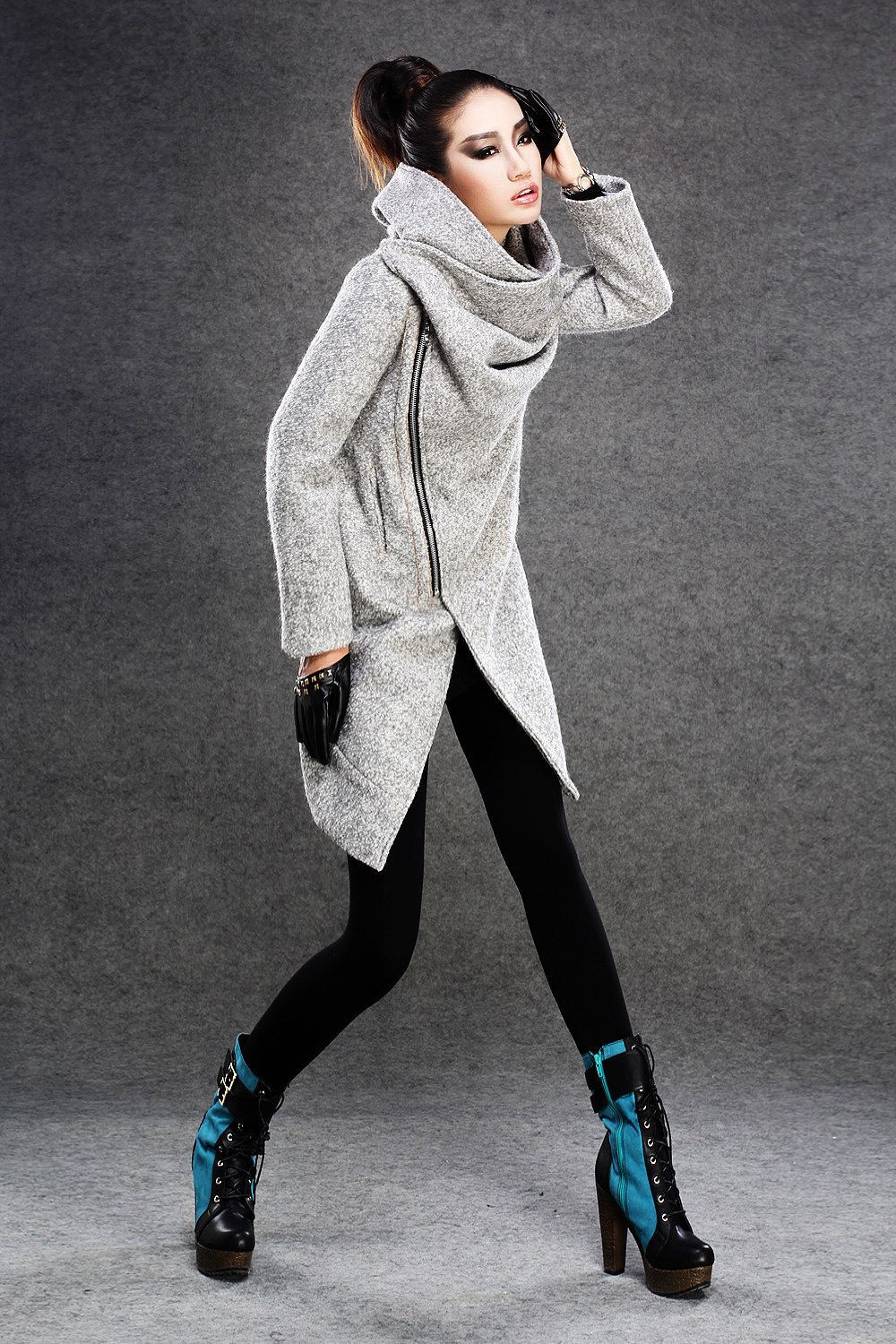 Modern Wool Gray Coat with Asymmetrical Front Zipper