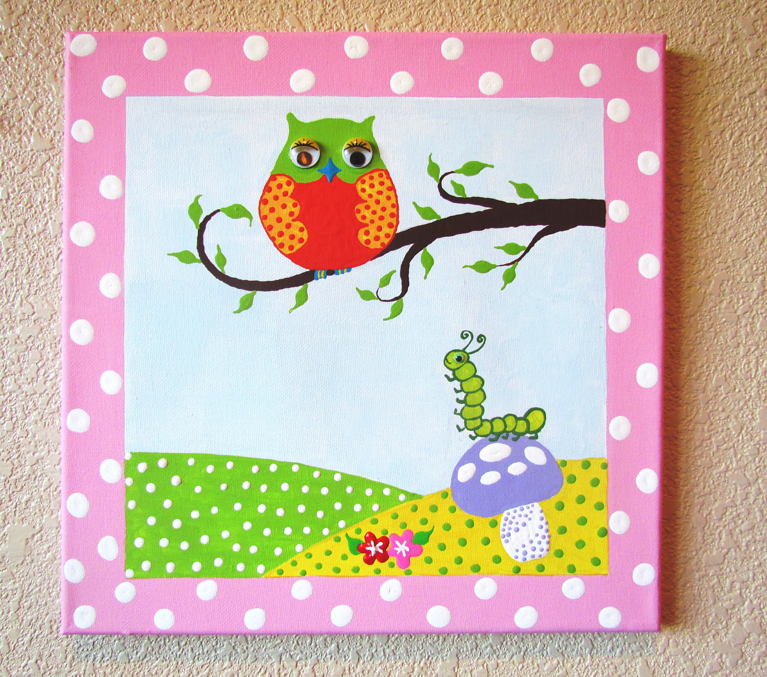 Como Hacer Un Lienzo Magnífico Wise Owl and Cute Caterpillar Hand Painted Acrylic Painting Of 37  Adorable Como Hacer Un Lienzo