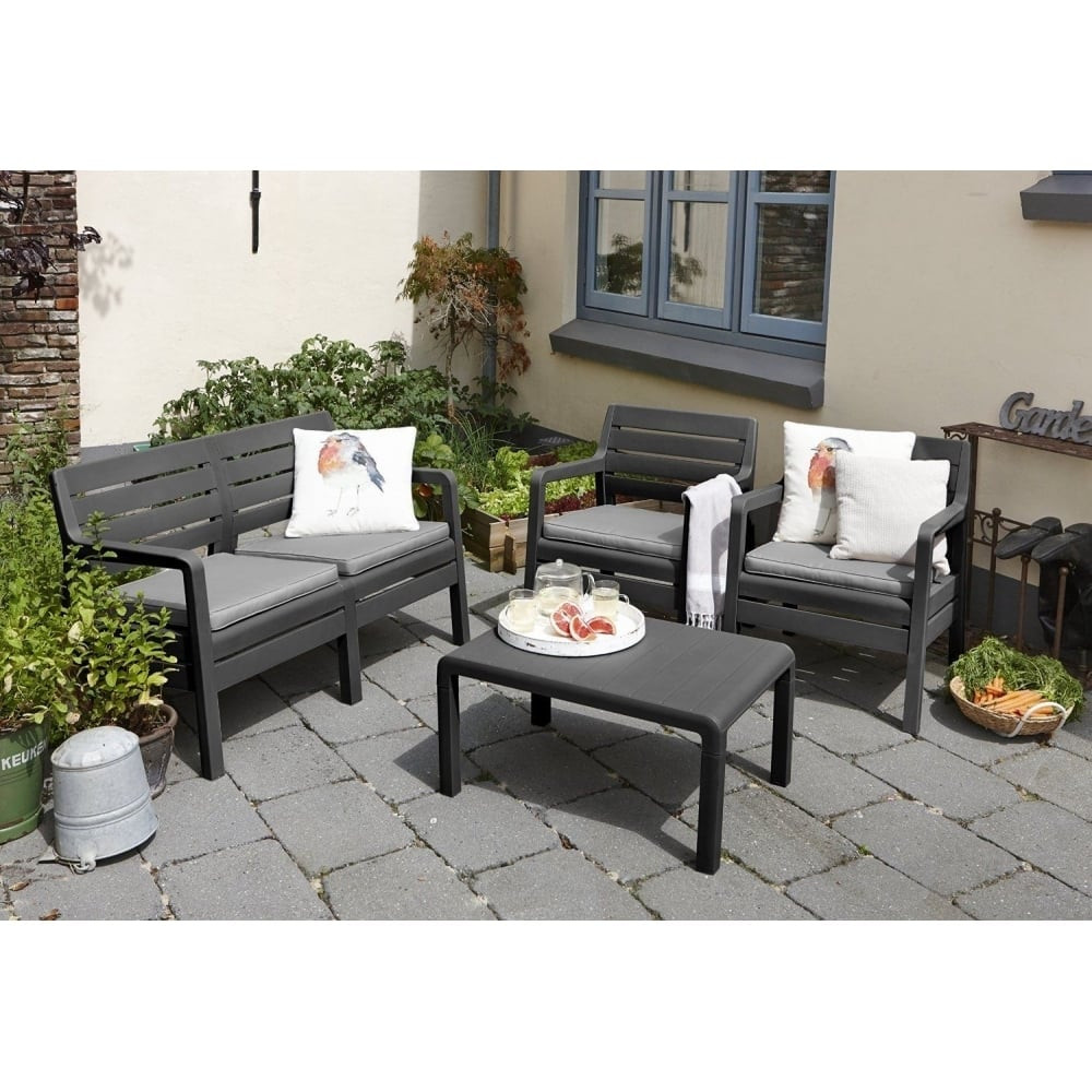 allibert delano 4 seat sofa garden lounge in graphite p181
