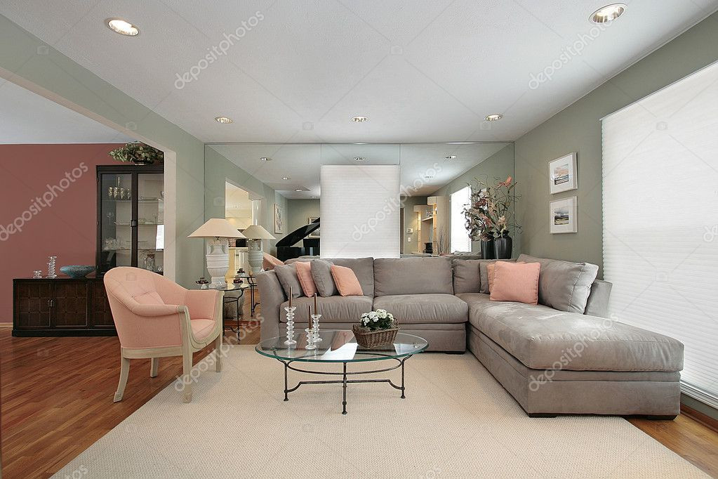 stock photo living room with mirrors