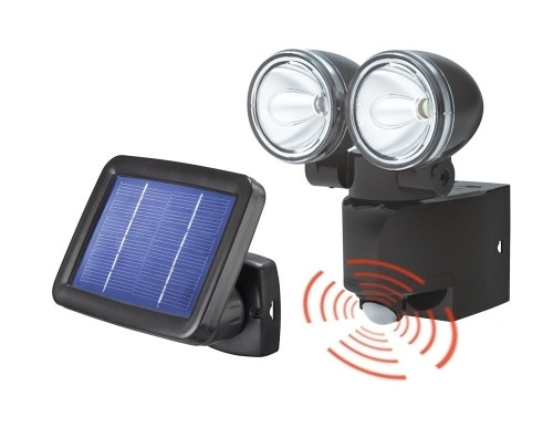 Foco led doble con sensor movimiento placa solar