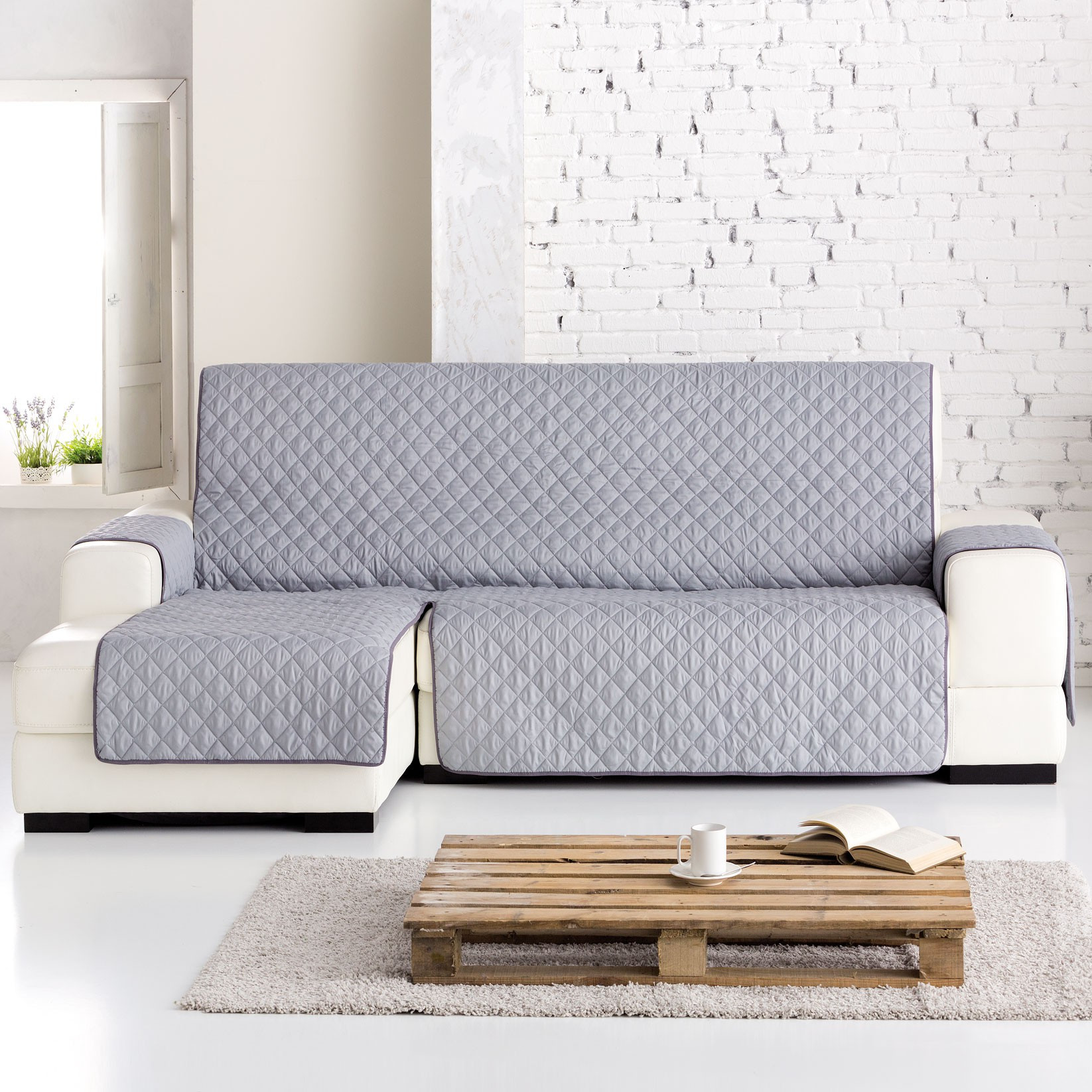 Funda sofa Chaise Longue Único Funda Chaise Longue Práctica Dual Quilt Gris Of 37  Innovador Funda sofa Chaise Longue