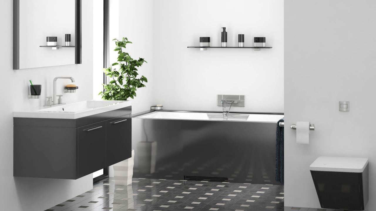 Ideas para decorar el baño en color negro Tono más claro
