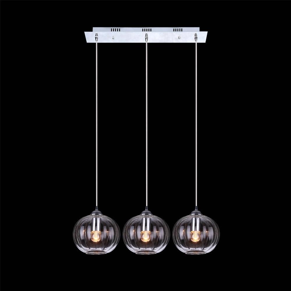 three lights clear ball glass hanging lamp for dining room
