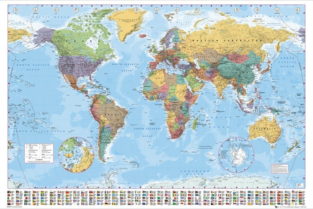 Mapa Del Mundo Decoracion Contemporáneo 朗 Mapa Poltico Del Mundo Póster Lámina Of 48  atractivo Mapa Del Mundo Decoracion