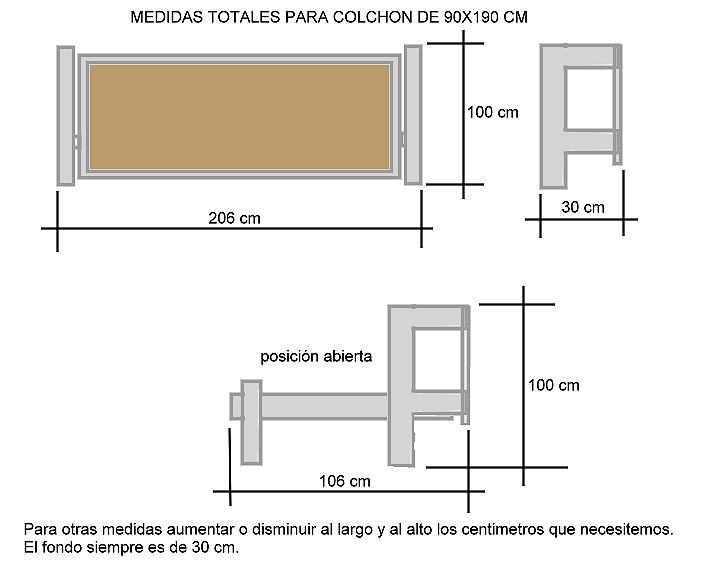 Medidas nordico Cama 150 Mejor Camas Abatibles Medidas Ideas De Disenos Ciboney Of 41  Contemporáneo Medidas nordico Cama 150