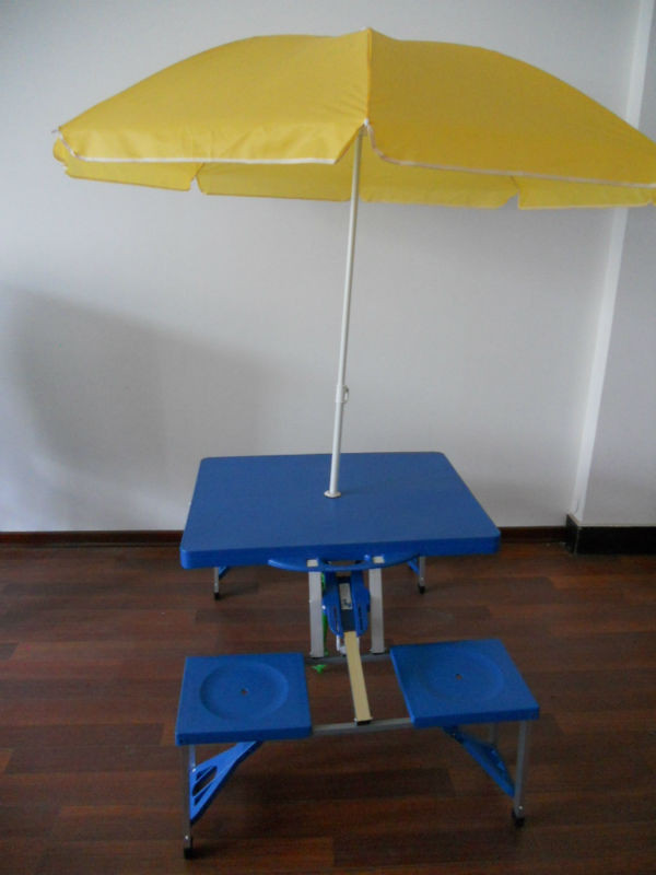outdoor portable folding plastic camping picnic table with 4 chairs and 1 parasol