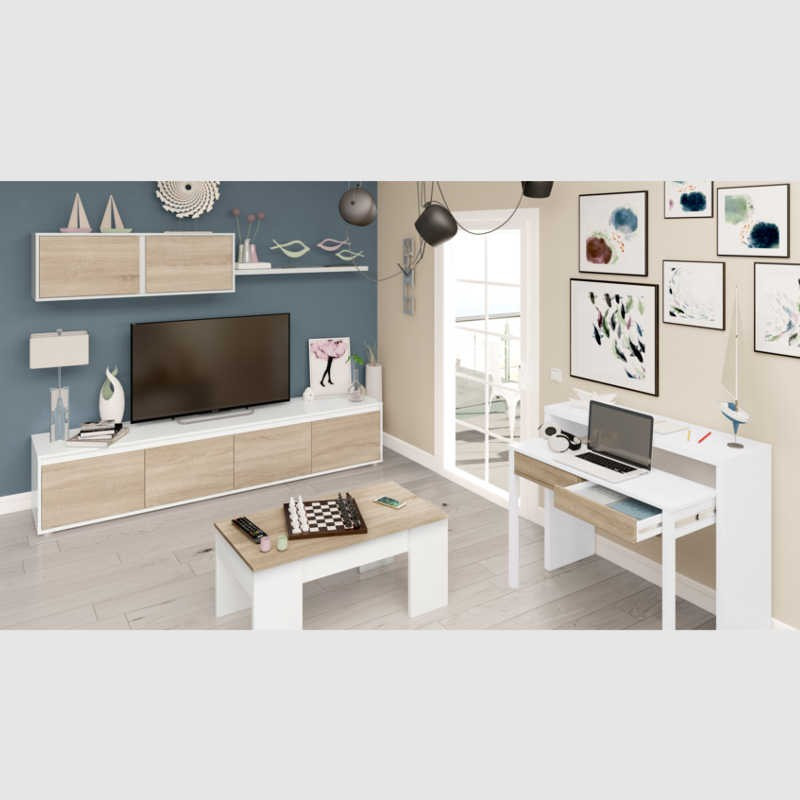 Mueble Salon Blanco Y Roble Adorable Pack Salon Mueble Mesa Centro Y Consola Extensible Of 47  atractivo Mueble Salon Blanco Y Roble