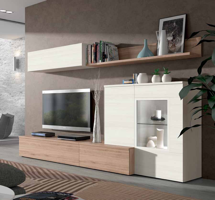 mueble salon roble natural blanco polar 3