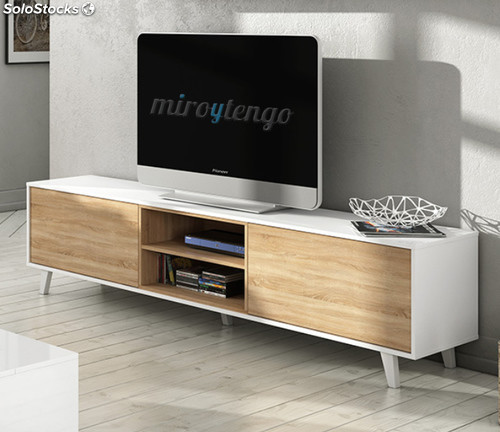 mueble tv de salon modulo bajo y estante nordico blanco y roble edor pleto
