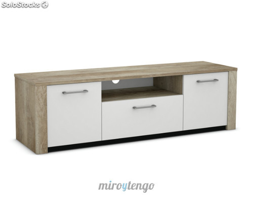 Mueble Salon Blanco Y Roble Innovador Mesa Mueble Tv Multimedia Color Roble Y Blanco De 3 Of 47  atractivo Mueble Salon Blanco Y Roble