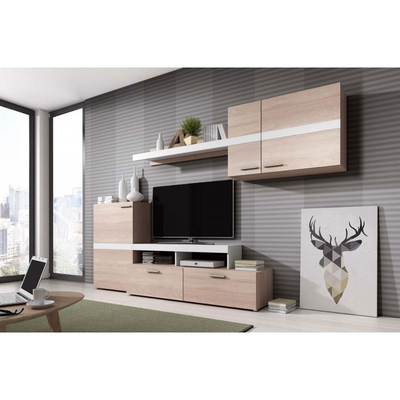 1002 mueble salon kube en roble natural y blanco brillo