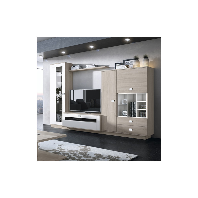 514 mueble salon roble y blanco