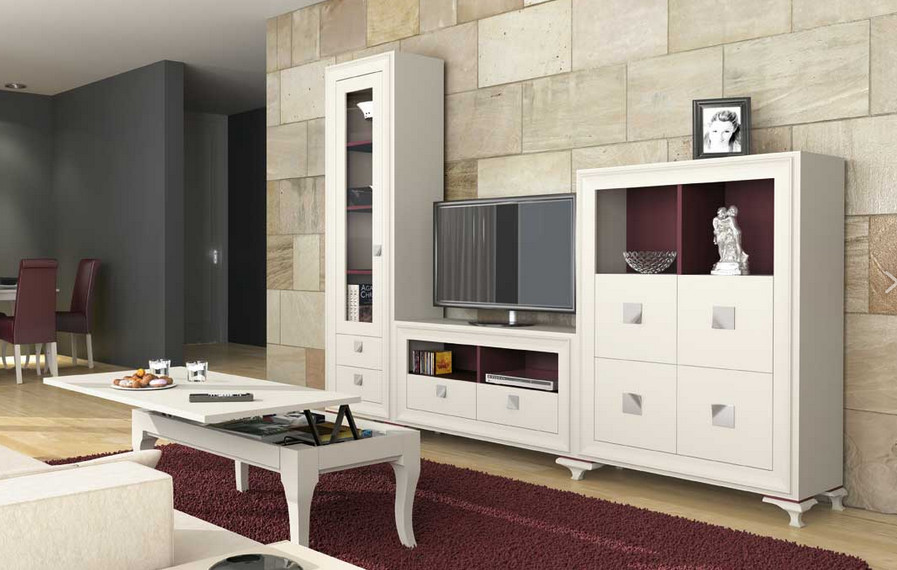 muebles blanco lacado salon