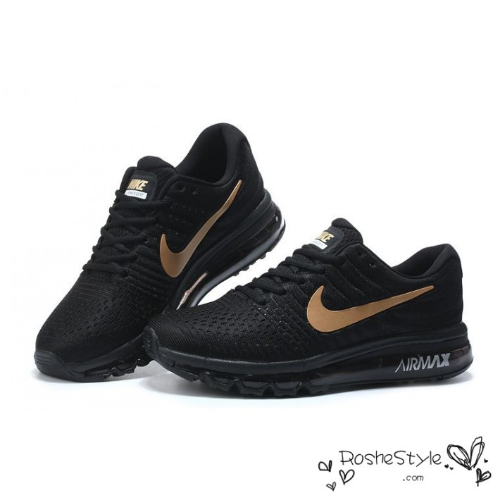 mens nike air max 2017 running shoe black gold for sale