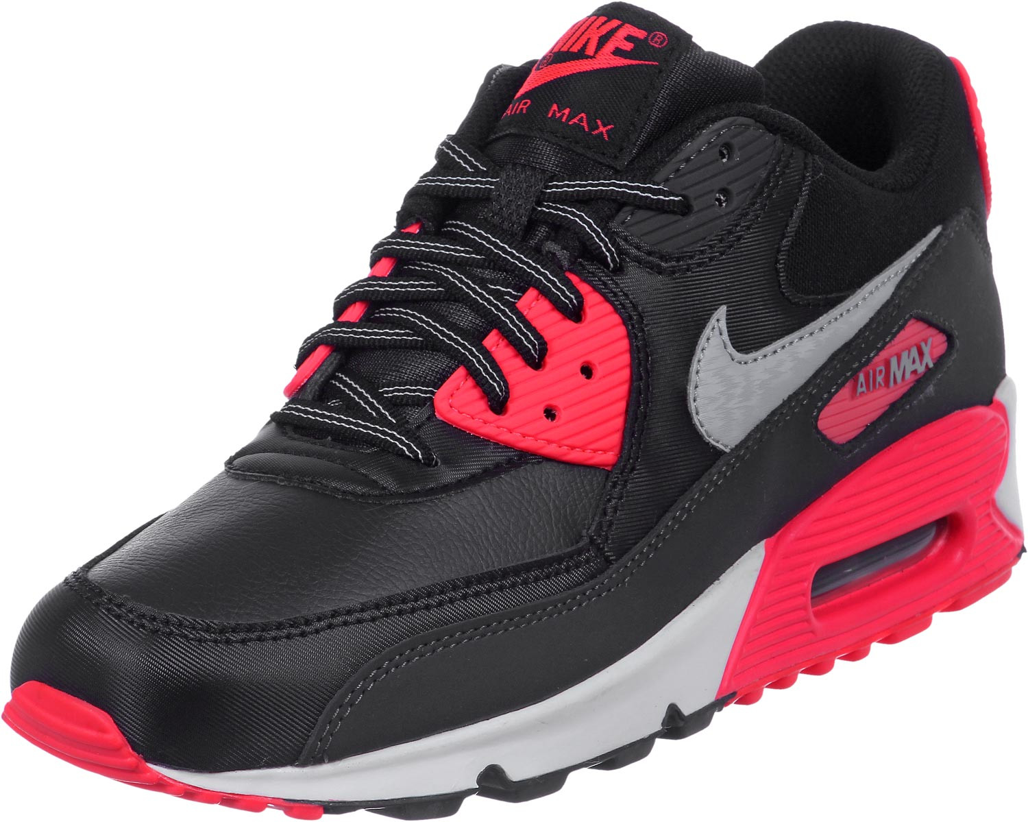 nike air max 90 youth gs shoes black red fid