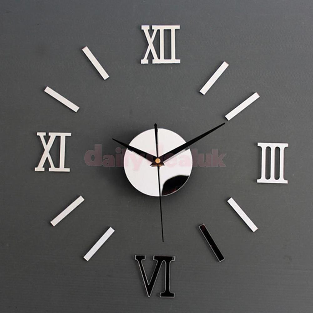 Relojes De Pared Modernos Magnífica Silver Diy 3d Roman Numbers Watch Clock Decor Mirror Face Of 50  Nuevo Relojes De Pared Modernos