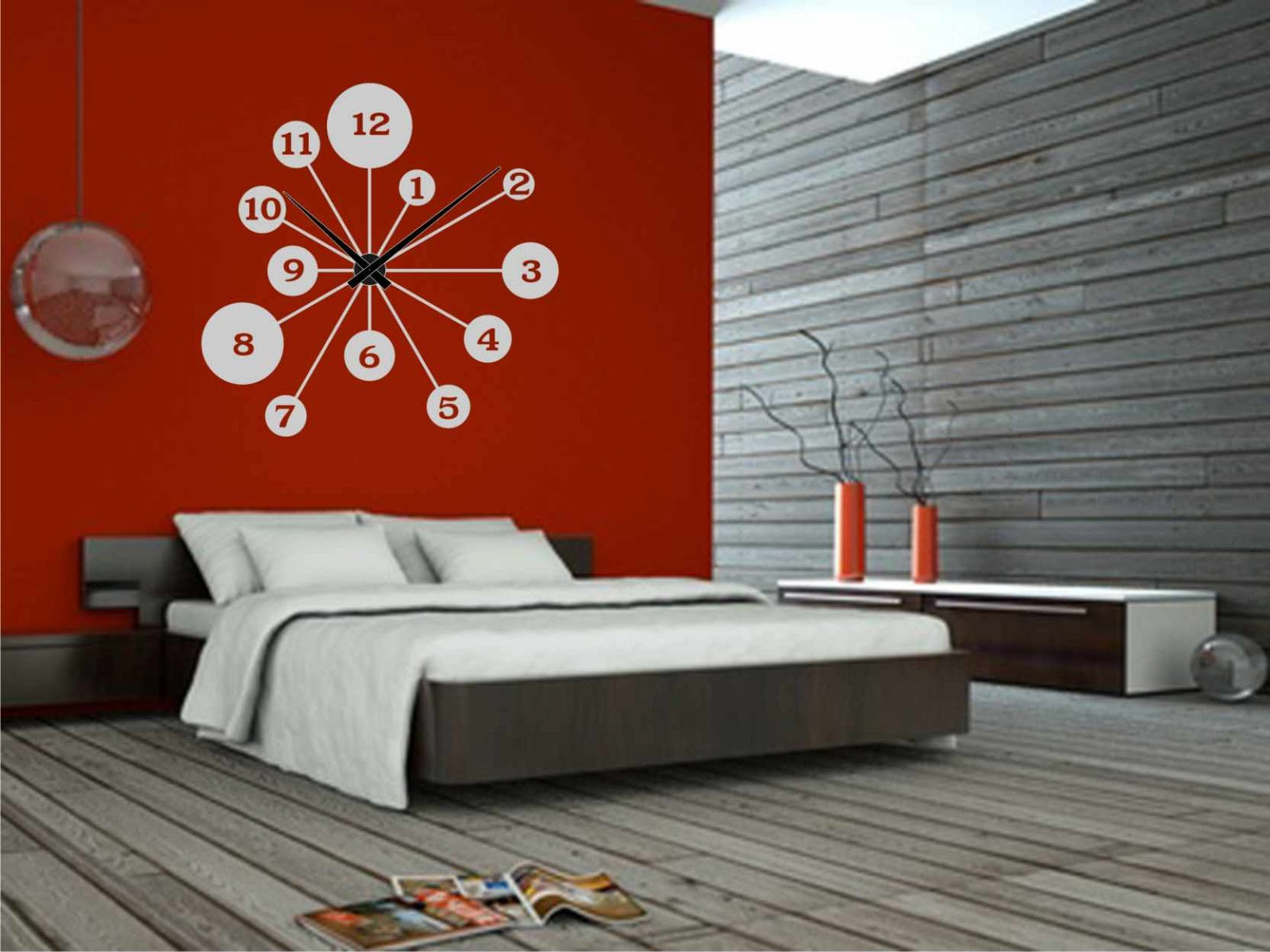 Relojes De Pared Modernos Para Salon Gran Relojesyvinilos Decorar Una Pared Roja Con Un Reloj Of 46  Arriba Relojes De Pared Modernos Para Salon