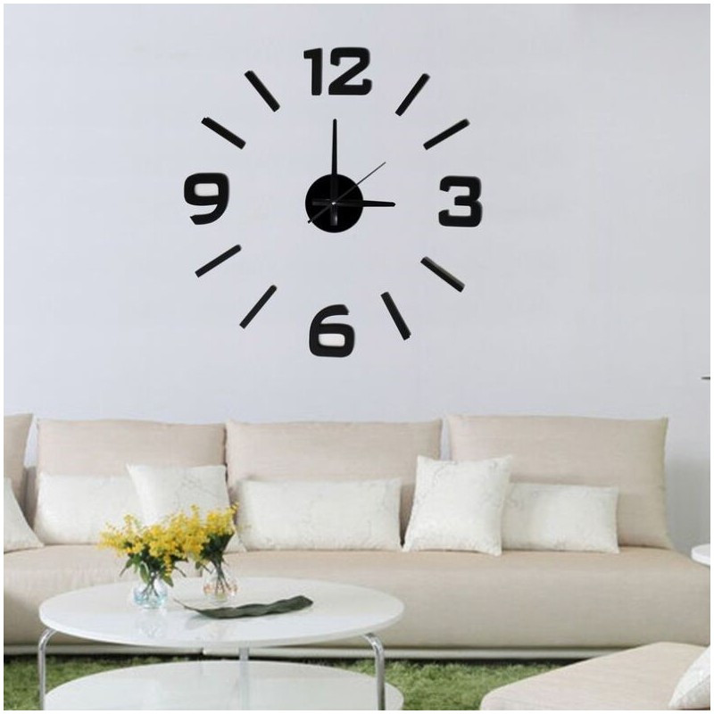 Relojes Decorativos Para Salon Perfecto Reloj De Pared 3d Adhesivos Diy Negro 60cm Of 35  Adorable Relojes Decorativos Para Salon