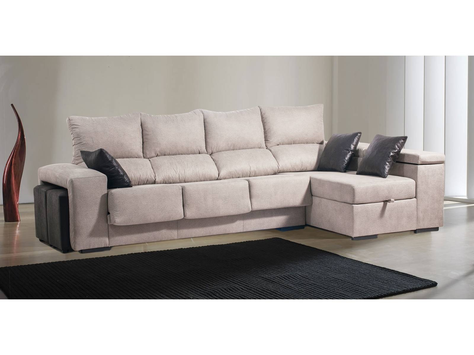 Sofa 3 Plazas Chaise Longue Perfecto sofá 3 P Con Chaise Longue Abatible Y 2 Puffs 3 Cojines Of 37  atractivo sofa 3 Plazas Chaise Longue