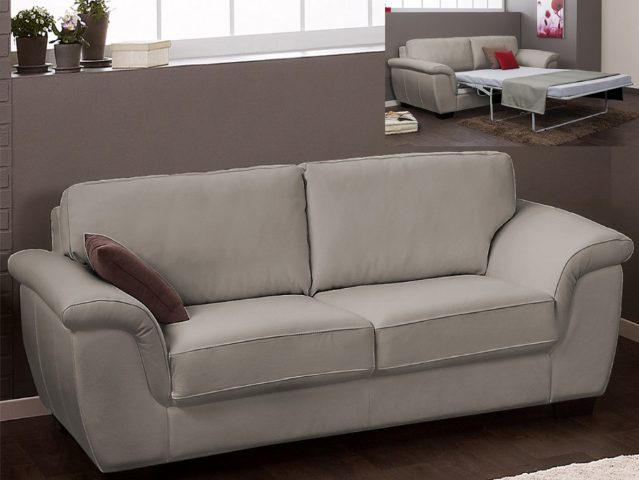 sofa cama 3 plazas en piel superior salerne chocolate blanco o gris pcid