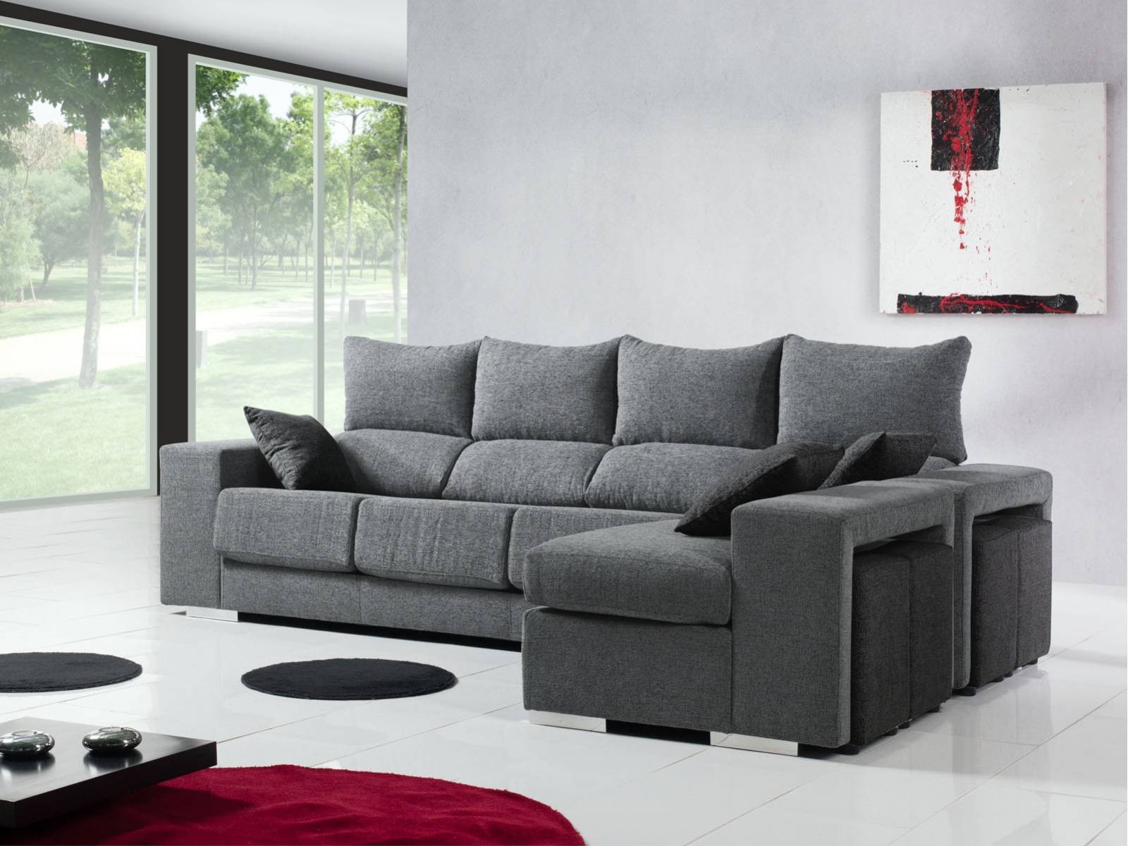 sofa con chaise longue reversible y 4 puff