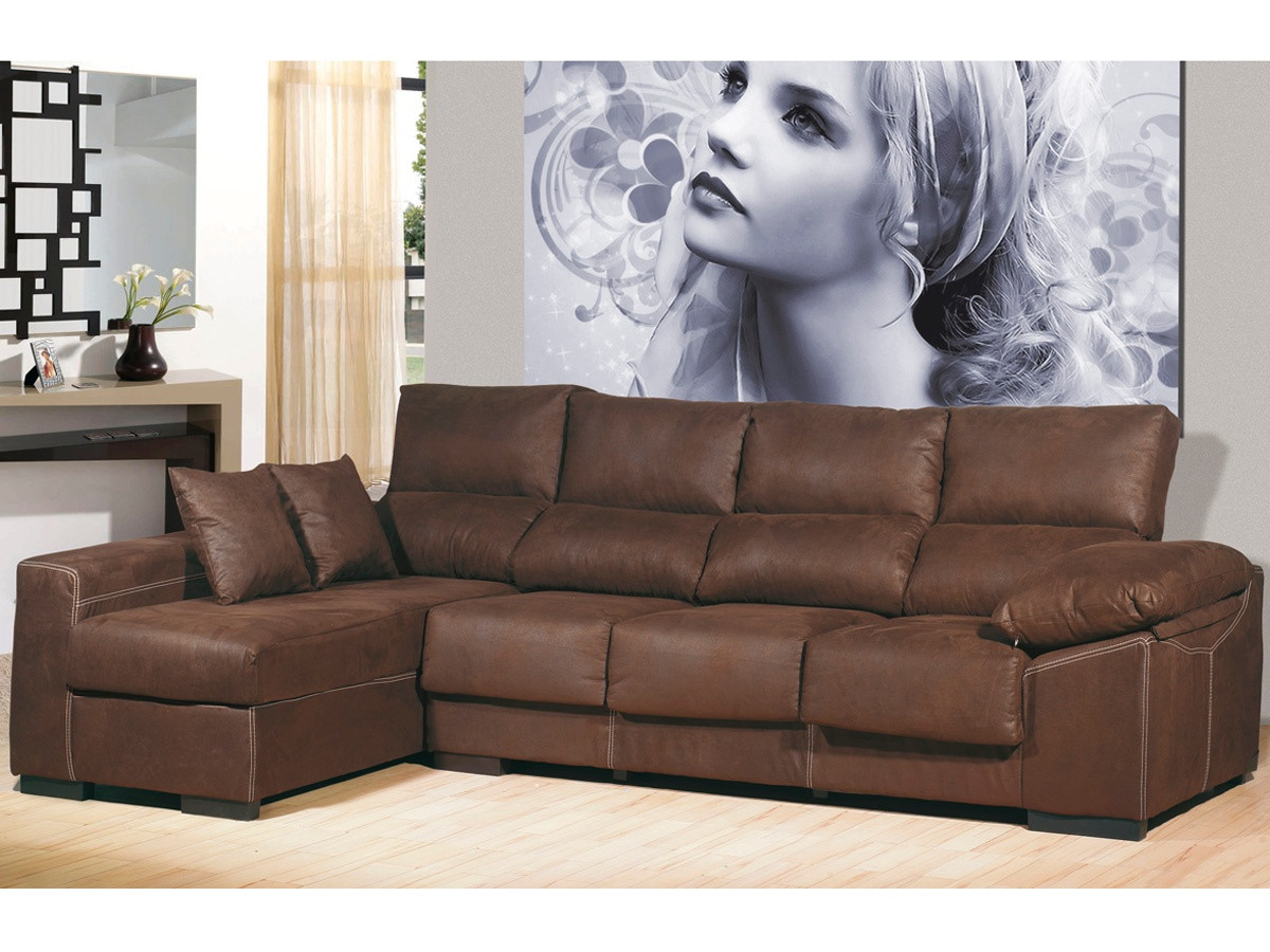 sofa chaiselongue 4 plazas chocolate