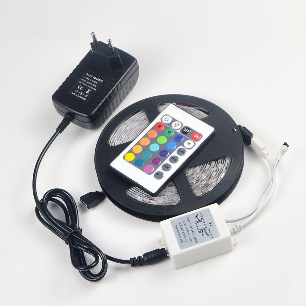 Tira De Led Rgb Gran Tira De Luces Led Rgb 5050 5 Metros 300 Led Kit Of 40  Magnífico Tira De Led Rgb