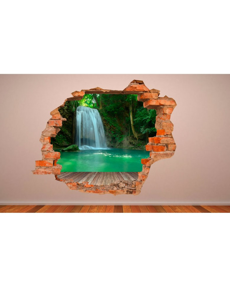 Vinilos 3d Para Pared Fresco Vinilo Pared Rota 3d Cascada Pa 139 Of 32  Innovador Vinilos 3d Para Pared
