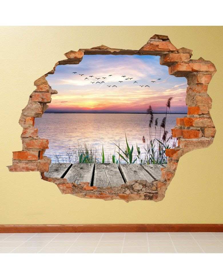 Vinilos 3d Para Pared Lujo Vinilo Pared Rota 3d Lago Vinil Decorativo Of 32  Innovador Vinilos 3d Para Pared