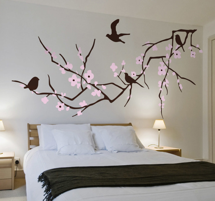 Vinilos Decorativos De Pared Adorable Vinilo Decorativo Rama Horizontal Y Aves Tenvinilo Of 44  Innovador Vinilos Decorativos De Pared