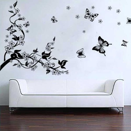 vinilos para decorar la pared arbol y mariposas