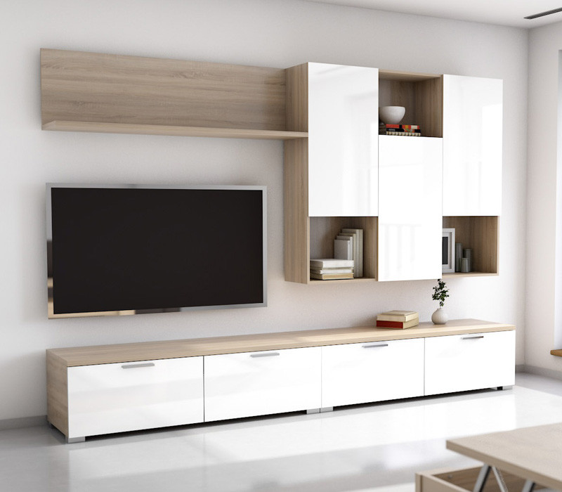 mueble edor salon de 275 cms roble aserrado blanco brillo modelo zenith c2x